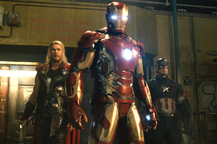 Chris Hemsworth, Robert Downey Jr. and Chris Evans in Avengers: Age of Ultron