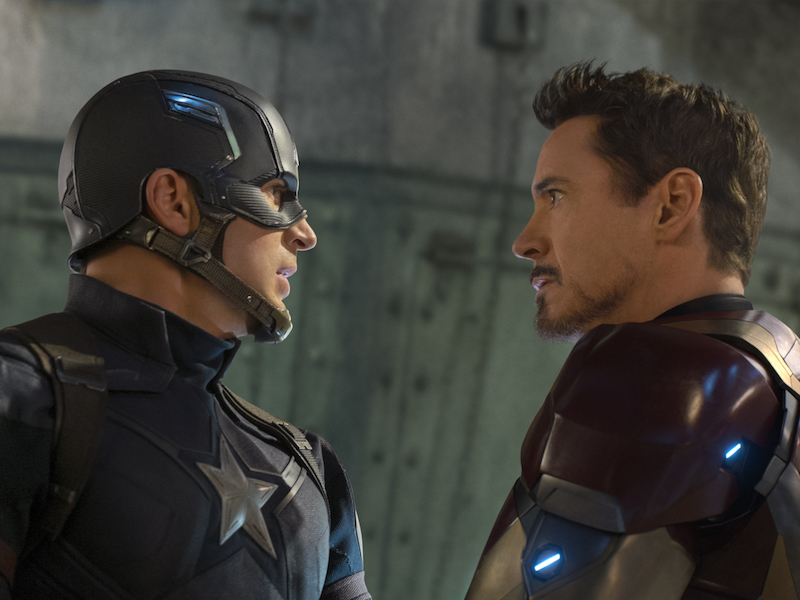 Chris Evans and Robert Downey Jr. in Captain America: Civil War