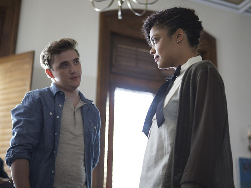 Kyle Gallner and Tessa Thompson in Dear White People